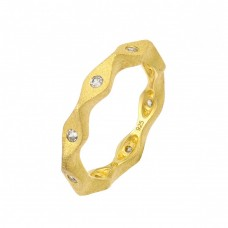 Wholesale Sterling Silver 925 Gold Plated Infinity Clear CZ Ring - STR00879