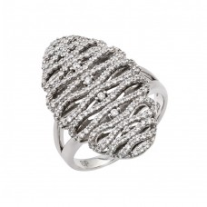 Wholesale Sterling Silver 925 Rhodium Plated Micro Pave CZ Ring - GMR00024
