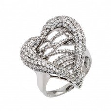 Wholesale Sterling Silver 925 Rhodium Plated Micro Pave CZ Ring - GMR00025