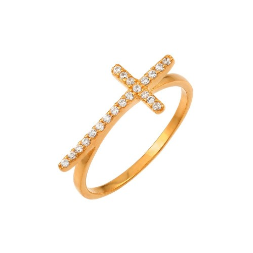 Wholesale Sterling Silver 925 Rose Gold Plated Clear CZ Cross Ring - BGR00810RGP