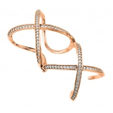 Wholesale Sterling Silver 925 Rose Gold Plated Knuckle Extension CZ X X Ring - GMR00032RGP