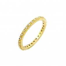 Wholesale Sterling Silver 925 Gold Plated Plated Clear CZ Inlay Eternity Ring - BGR00339GP