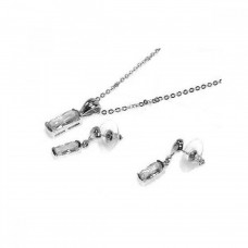 Wholesale Sterling Silver 925 Rhodium Plated Clear Baguette CZ Dangling Set - BGS00007CLR