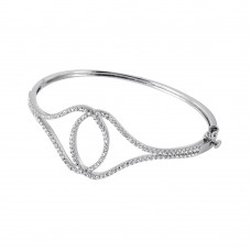 Wholesale Sterling Silver 925 Rhodium Plated Hoops Bracelet - BGB00233