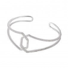 Wholesale Sterling Silver 925 Rhodium Plated Bangle Bracelet - BGB00239