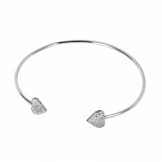 Wholesale Sterling Silver 925 Rhodium Plated Heart Bracelet - BGB00240
