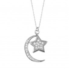 Wholesale Sterling Silver 925 Rhodium Plated Moon Star Necklace - BGP01005