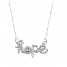 Wholesale Sterling Silver 925 Rhodium Plated Hope Necklace - BGP01006