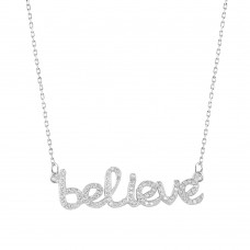 Wholesale Sterling Silver 925 Rhodium Plated Believe Necklace with CZ - BGP01007
