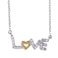 Wholesale Sterling Silver 925 Two-Toned Plated Love Necklace with CZ - BGP01020
