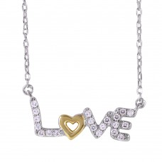 Sterling Silver Two-Toned Plated Love Necklace with CZ - BGP01020
