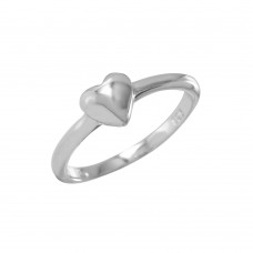 Wholesale Sterling Silver 925 Rhodium Plated Heart Plain Ring - BGR00835