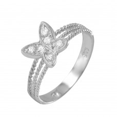 Sterling Silver Rhodium Plated Butterfly CZ Ring BGR00954