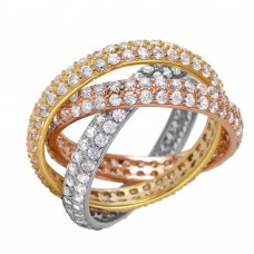 Sterling Silver Multicolor Stackable Ring - BGR00963