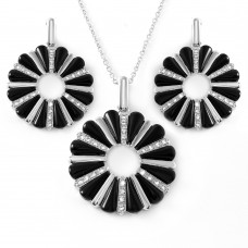 **Closeout** Wholesale Sterling Silver 925 Rhodium Plated Open Flower Cookie Set - BGS00071