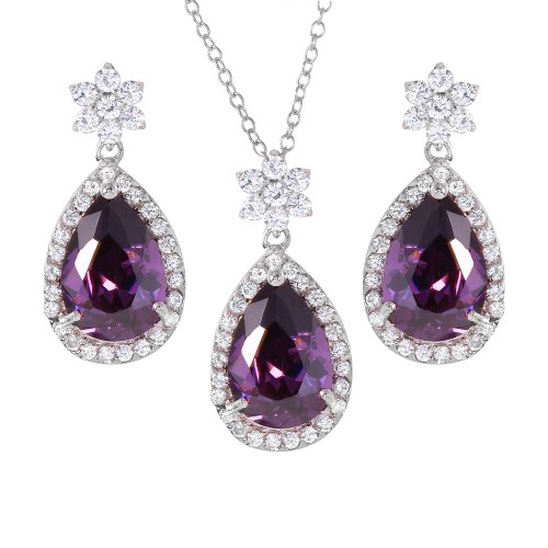 Wholesale Sterling Silver 925 Rhodium Plated Purple Pear Set - BGS00247