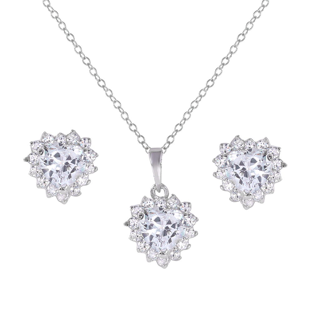 Wholesale Sterling Silver 925 Rhodium Plated Clear Heart Cluster Set - BGS00322