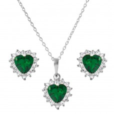 Wholesale Sterling Silver 925 Rhodium Plated Green Heart Cluster Set - BGS00325