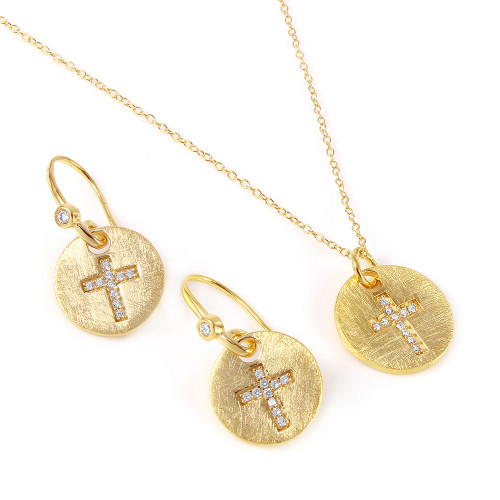 -Closeout- Wholesale Sterling Silver 925 Gold Plated Cross Round Tag Set - BGS00408