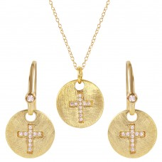 **Closeout** Wholesale Sterling Silver 925 Gold Plated Cross Round Tag Set - BGS00408