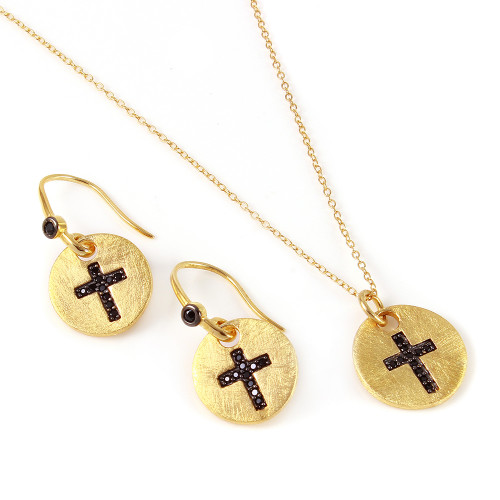 -Closeout- Wholesale Sterling Silver 925 Gold Plated Black Cross Round Tag Set - BGS00409