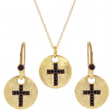 **Closeout** Wholesale Sterling Silver 925 Gold Plated Black Cross Round Tag Set - BGS00409