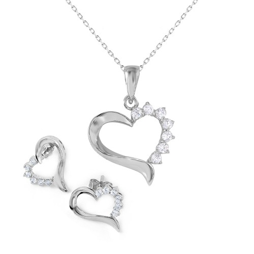 Wholesale Sterling Silver 925 Rhodium Plated Heart CZ Set - BGS00445