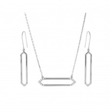 Wholesale Sterling Silver 925 Rhodium Plated Long Open Hexagon Set - BGS00454