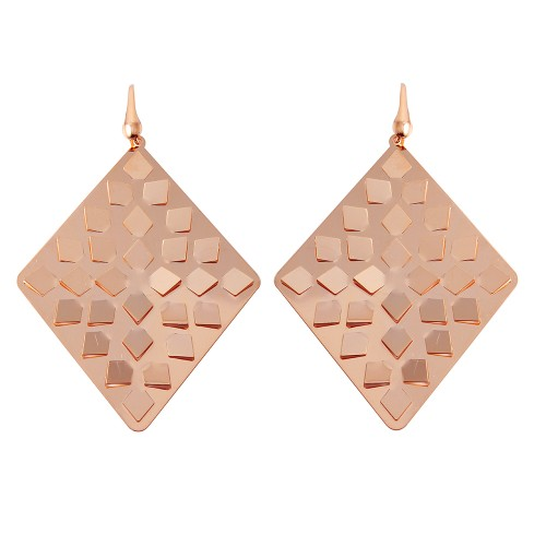 Wholesale Sterling Silver 925 Rose Gold Plated Rhombus Earrings - ECE00014R