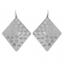 Wholesale Sterling Silver 925 Rhodium Plated Rhombus Earrings - ECE00014RH