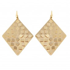 Wholesale Sterling Silver 925 Gold Plated Flat Scoop Rhombus Earrings - ECE00014Y
