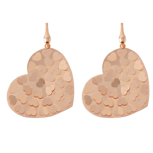 Wholesale Sterling Silver 925 Rose Gold Plated Heart Earrings - ECE00015R