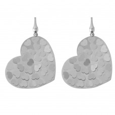 Wholesale Sterling Silver 925 Rhodium Plated Heart Earrings - ECE00015RH