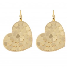 Wholesale Sterling Silver 925 Gold Plated Flat Scoop Heart Earrings - ECE00015Y