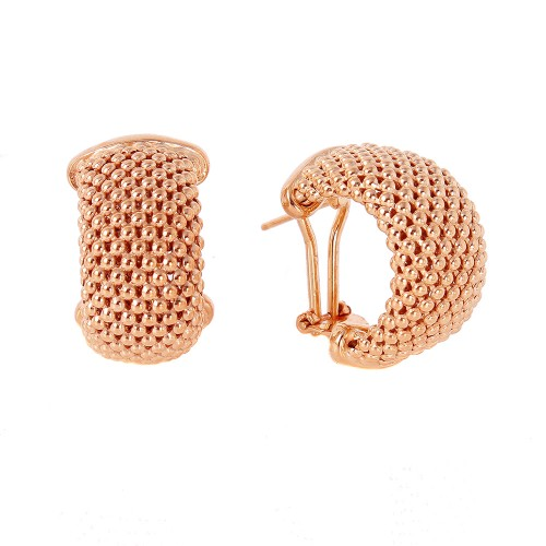 -Closeout- Wholesale Sterling Silver 925 Rose Gold Plated Hoop Chain-texture Earrings - ITE00058RGP