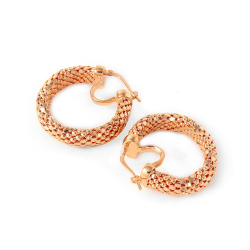 -Closeout- Wholesale Sterling Silver 925 Rose Gold Plated Thin Hoop Chain-texture Earrings - ITE00060RGP