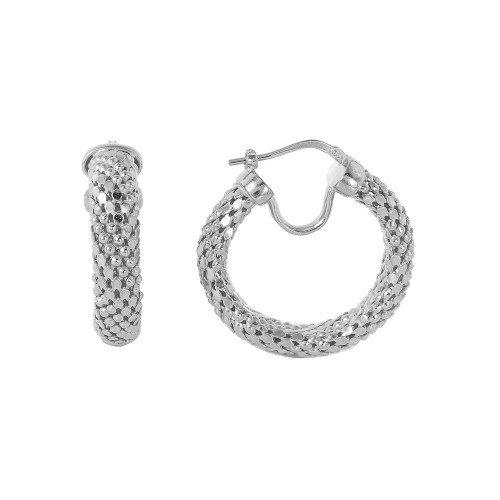 -Closeout- Wholesale Sterling Silver 925 Rhodium Plated Thin Hoop Chain-texture Earrings - ITE00060RH
