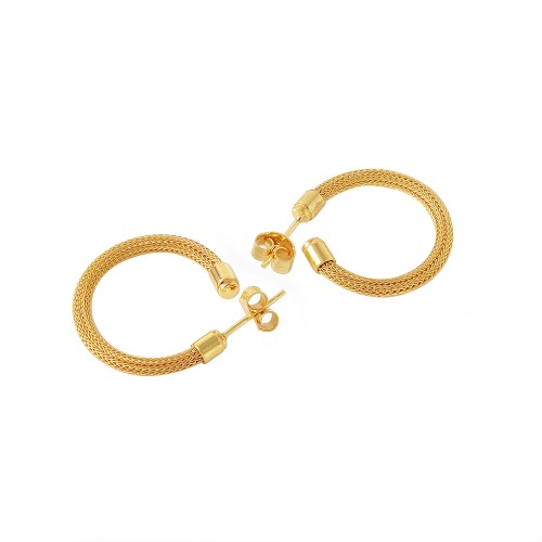 -Closeout- Wholesale Sterling Silver 925 Gold Plated Thin Hoop Earrings - ITE00062GP