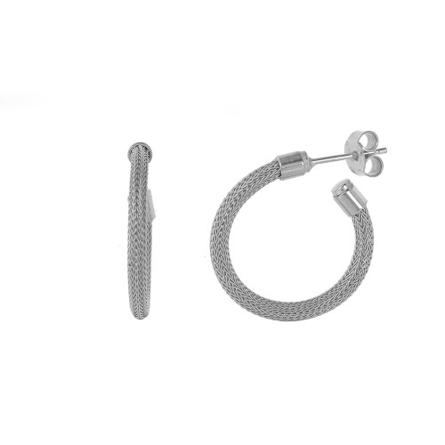 -Closeout- Wholesale Sterling Silver 925 Rhodium Plated Super Thin Hoop Chain-texture Earrings - ITE00062RH