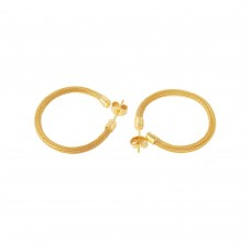 **Closeout** Sterling Silver Gold Plated Thin Long Hoop Earring - ITE00063GP