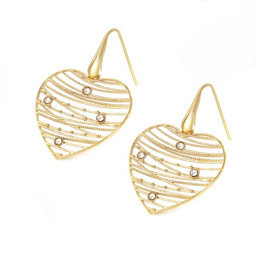 -Closeout- Wholesale Sterling Silver 925 Gold Plated Webbed Open Heart Earrings - ITE00064GP