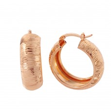 Wholesale Sterling Silver 925 Rose Gold Plated Armadillo Hoop Earrings - ITE00066RGP