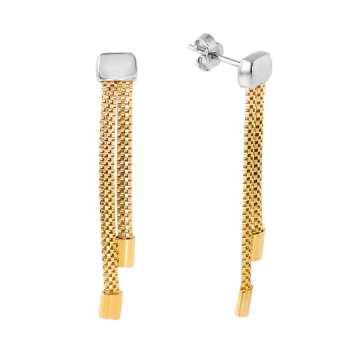 Wholesale Sterling Silver 925 Gold Plated Dangling Earrings - ITE00067GP