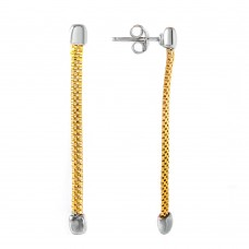 Wholesale Sterling Silver 925 Gold Plated Dangling Single Strand Earrings - ITE00068GP
