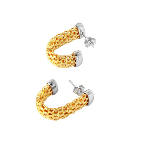 Wholesale Sterling Silver 925 Rhodium Plated Hook Chain-texture Earrings - ITE00069GP