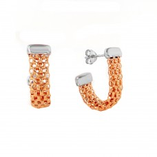 Wholesale Sterling Silver 925 Rose Gold Plated J Hook Earrings - ITE00069RGP