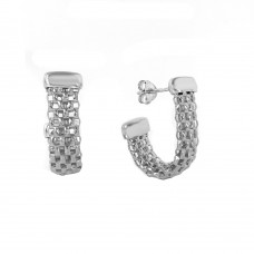 Wholesale Sterling Silver 925 Rhodium Plated J Hook Earrings - ITE00069RH