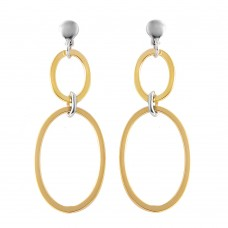 Wholesale Sterling Silver 925 Gold Plated Double Open Oval Earrings - ITE00070GP