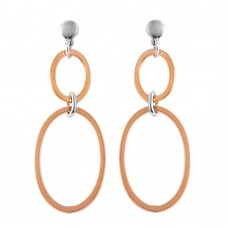 Wholesale Sterling Silver 925 Rose Gold Plated Double Oval Earrings - ITE00070RGP