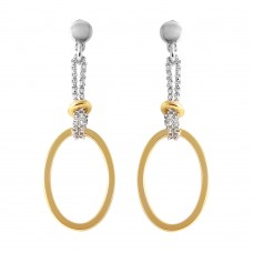 Wholesale Sterling Silver 925 Gold Plated Dangling Open Oval Earrings - ITE00071GP